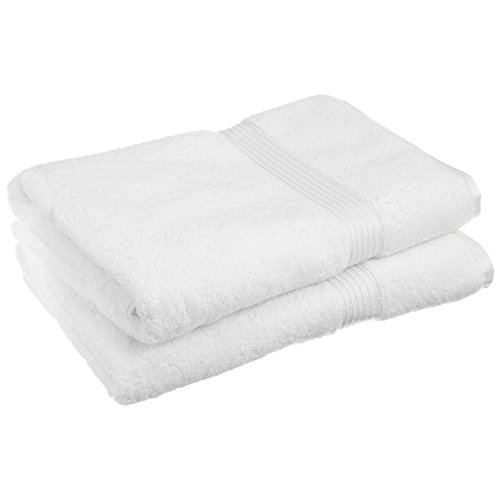 "Superior Luxurious Soft Hotel & Spa Quality Oversized Bath Sheet Set of 2, Made of 100% Premium Long-Staple Combed Cotton - White, 34"" x 68"" each"