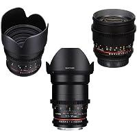 Samyang 3 Pack Cine DS Bundle Includes 35mm T1.5 Cine DS Wide-Angle Lens, 50mm T1.5 AS UMC VDSLR II Manual Focus Cine Lens, 85mm T1.5 Cine DS Aspherical Lens For Sony E Mount