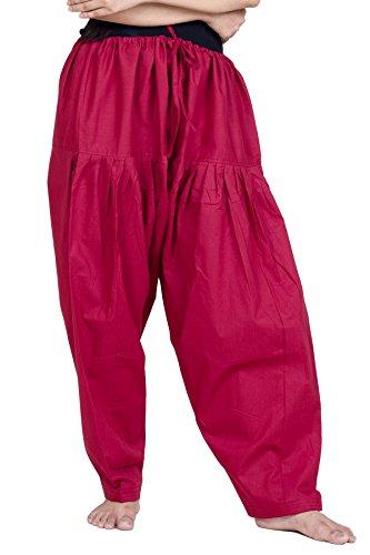 Chandrakala Women's Maroon Pure Cotton Plain Patiala Dhoti Salwar Indian Pants,X-Large (P107MAR4) (Punjabi Best Shayari Ever)