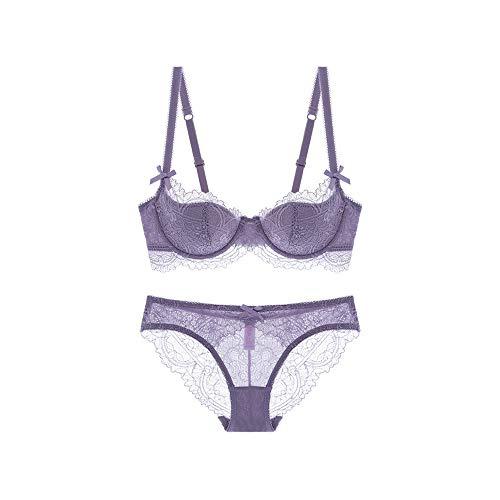 Women Embroidery Underwire Half Cup Bra and Panty Set Lace Soft Cotton Cup Lingerie Set(Purple,36C)