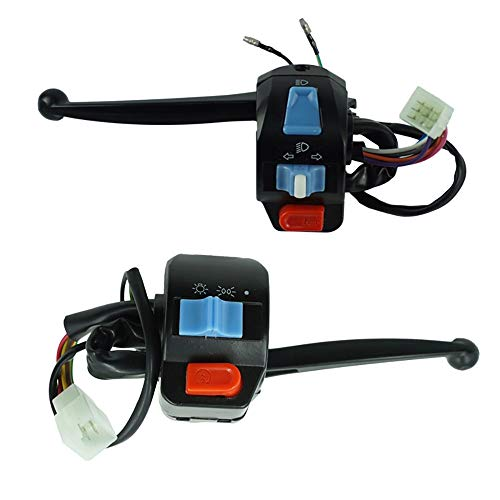 Easy to Install 12V Waterproof Motorcycle Left and Right Handlebar Control Switch Horn Turn Signal Electric Star for GY6 50cc 125cc 150cc 1Pair Useful ( Color : Levers )