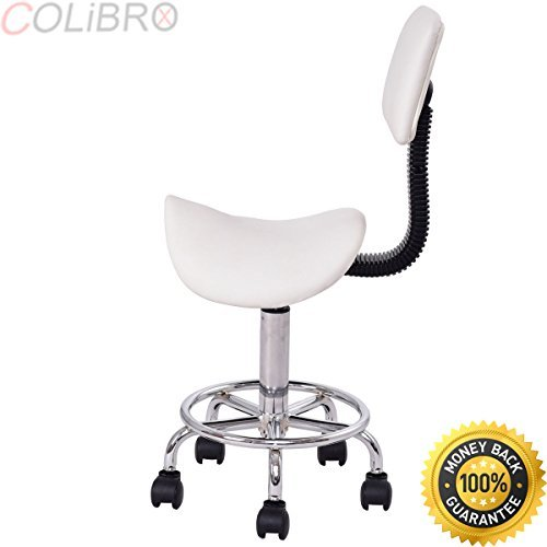 COLIBROX–Adjustable Saddle Salon Stool Rolling Massage Chair Tattoo Facial Spa w/Backrest. cutting stool for hairdressers. salon stool chair. best hair stylist saddle stool amazon.amazon salon stool.