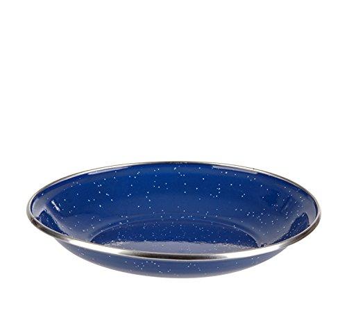 Emaille Teller mit Edelstahlrand in flach oder tief Blau 26cm flach