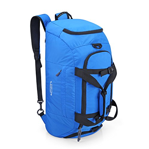 G4Free 3-Way Travel Duffel Backpack Luggage Gym Sports Bag with Shoe Compartment (Blue)