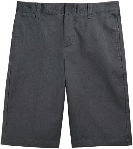 French Toast School Uniform Boys Flat Front Adjustable Waist Shorts, Gray, 10