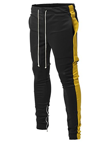 Style by William Side Panel Long Length Drawstring Ankle Zipper Track Pants Black Yellow S (Ankle Side Zipper)