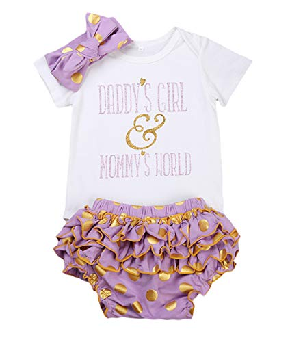 be2901ac6 Newborn Baby Girls Clothes Daddy Mommy Outfit Rompers+Ruffel Pants  Shorts+Headband 3PCS Clothing