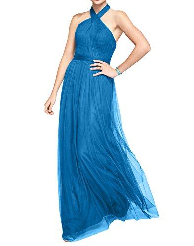 Neckholder Blau Abendkleider mia A Partykleider Ballkleider Linie Tuell La Lang Damen Brau Brautjungfernkleider Hd7wqYAt