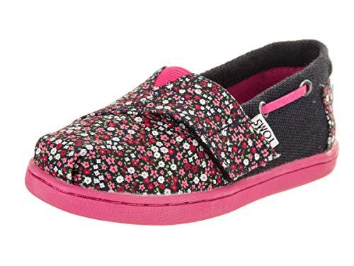 TOMS Toddlers Tiny Bimini Pink Ditsy Floral/Burlap Slip-On Shoe 4 Infants US -