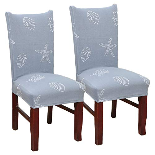 MeMoreCool Blue Shell Starfish Print Stretch Removable Washable Short Dining Chair Protector Cover Slipcover, 2PC Set for Dining Room Ceremony Party Hotel Restaurant (Dining Chairs Room Wicker Ikea)