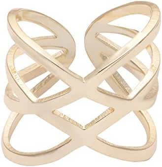 TUSHUO Trendy Double Letter X Shape Expandable Ring Infinity Statement Mid Finger Ring for Women