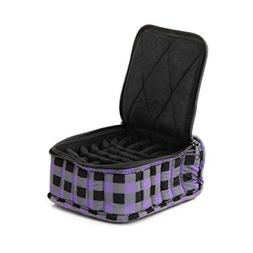 "30-Bottle Essential Oil Designer Carrying Case holds 5ml, 10ml and 15ml bottles - Purple/Black/Grey Checkered w/Black interior - 3"" high"