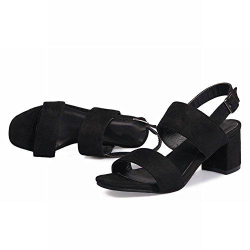 Carolbar Women's Solid Color Charm Block High Heel Slingback Sandals Black npbkqxpKZ