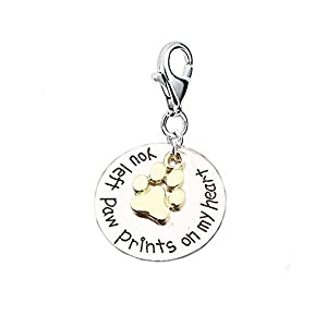 "Loss of Pet Memorial Charm Dog Cat ""You left paw prints on my heart "" Clip on lobster clasp charm"