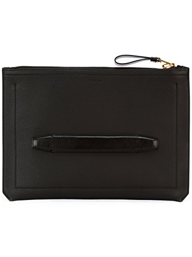 Tom Ford Men's Black Leather Double Face Top Zip Portfolio
