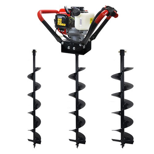 """XtremepowerUS V-Type 55CC 2 Stroke Gas Post Hole Digger One Man Auger (Digger + 4"""" 6"""" 10""""Bits)"""