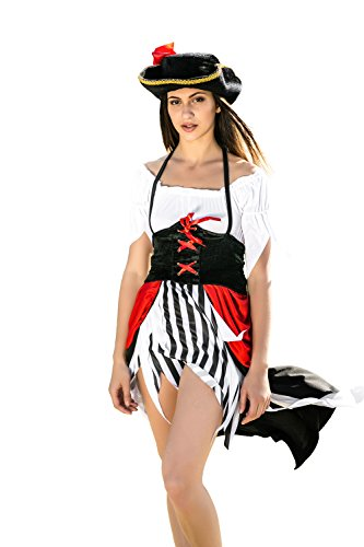 Mary Read Pirate Costume (Adult Women Lady Pirate Costume Sea Rover Captain Role Play Buccaneer Dress Up (Small/Medium, White, Black, Red, Golden))