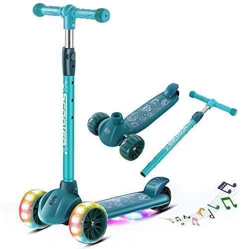 DITONG Kick Scooter para niños, scooter de 3 ruedas para niños, 3 ruedas intermitentes LED de PU ajustables en altura, cubierta extra ancha y reproducción de música, los mejores regalos para niños de 3 a 12 años