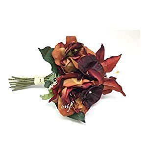 "12"" Rose Tiger Lily Bouquet Artificial Silk Wedding Bridal Flowers Home Decor 10pc 22"