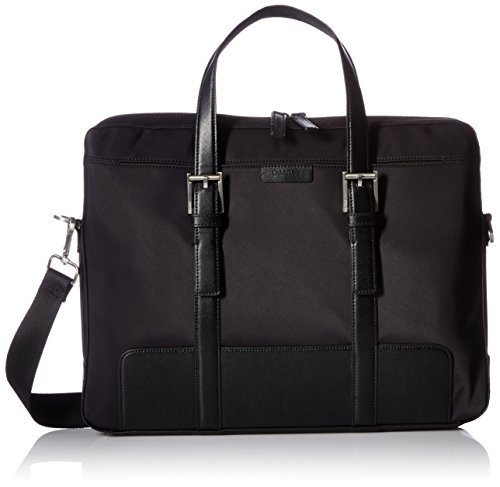 Calvin Klein Men's Attache Bag Smooth Nylon with Saffiano Trim, Black