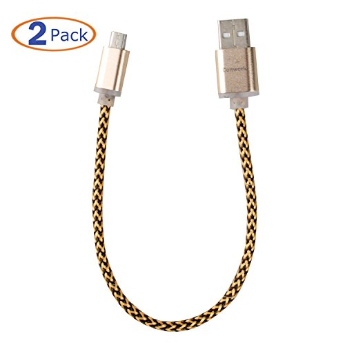 Conwork [2-pack] Micro USB to USB Cable Data Sync and Charging 5 Pin Cable for Samsung, HTC, Google. Metal Plug & Mixed Color Cotton Jacket, High-Speed A Male to Micro B 8inch Short Cable -Gold
