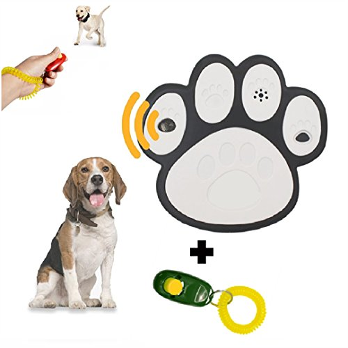 (CoLnyC (Newest Model) Ultrasonic Paw Shaped Mini Outdoor Anti Barking Deterrent | No Bark | Stop Dog | Sonic Devices | Training Device With Free Clicker Dog)