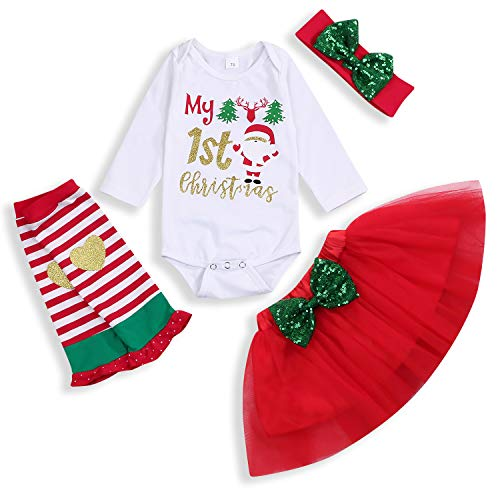 Kids Baby Girl Christmas Skirt Set Too Cute to Wear Ugly Sweater Bodysuit Tutu Dress with Headband Fall Winter Clothes (6-12 Months, 1st) (Girl Merry Christmas)