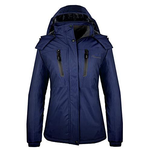 OutdoorMaster Women's Ski Jacket Basic - Winter Jacket with Elastic Powder Skirt & Removable Hood, Waterproof & Windproof (Deep Blue,L)
