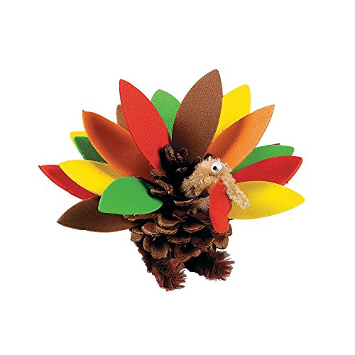 Pinecone And Foam Turkey Craft Kit (Makes 12)
