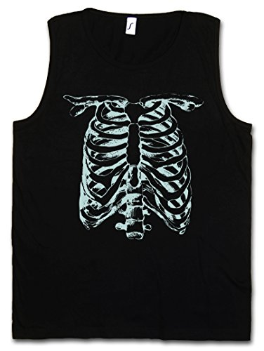 Skeleton II Vest Tank TOP os squelette Faucheuse moissonneur Mort Bones Halloween Karneval Skull Fear The Black