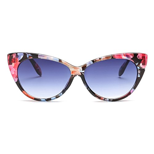 Armear Retro Cateye Plastic Frame Oval Vintage Sunglasses Women Clear Lens Glasses (Floral, 66)