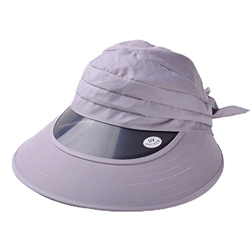 [Women Ladies Girls Sun Visor Wide Brim Foldable Sun UV Protect Hat Beach Cap (Grey)] (Philippines National Costume Boys)