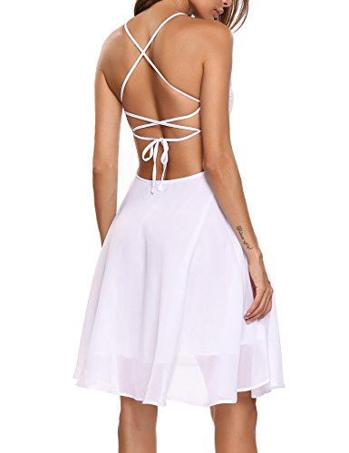 zeagoo Women Sleeveless Backless Stripe Strappy Mini Sun Dress, White, S (Strappy Dress Back)