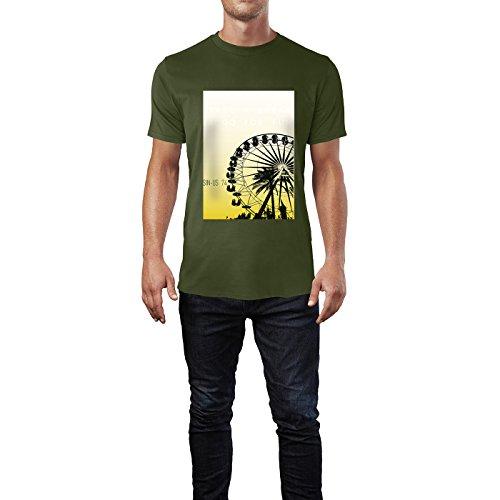 SINUS ART® Riesenrad Take A Break & Go For Fun Herren T-Shirts in Armee Grün Fun Shirt mit tollen Aufdruck