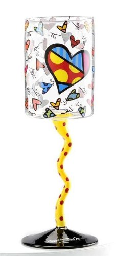 Romero Britto Heart Design Wine Glass with Yellow Squiggle Red Dotted Stem