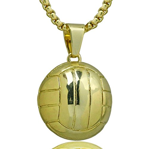 Nmch Unisex Volleyball Necklace Women Men Stainless Steel Chain Pendant Necklace Charm...