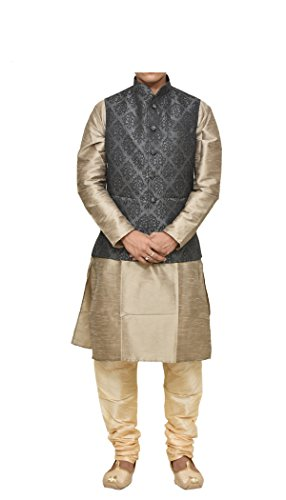(Mag Men's Copper Gold silk Kurta Gold Churidhar With Black 1st Waistcoat (RG-10276-44))