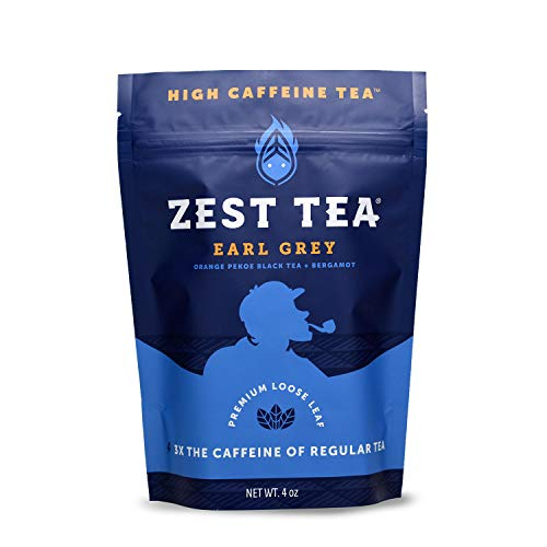 Zest Tea Premium Energy Hot Tea, High Caffeine Blend Natural and Healthy Traditional Black Coffee Substitute, Perfect for Keto, 150 mg Caffeine per Serving, Earl Grey Black Tea, 4 Oz Loose Leaf