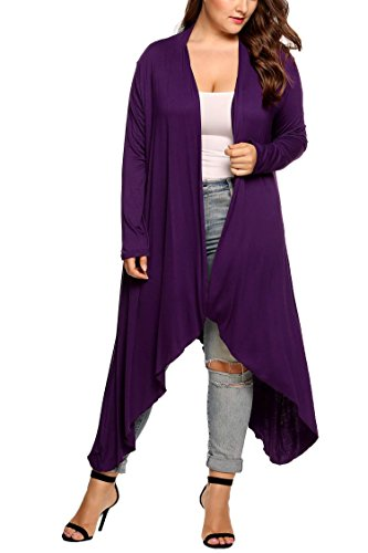 Opino Women's Purple Basic Asymmetric Knit Solid Long Sleeve Maxi Cardigan 3XL