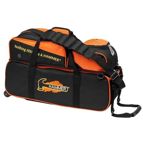 Hammer Triple Bowling Ball Tote with Removable Pouch, - 3 Hammer Bag Bowling Ball