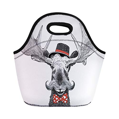 - Semtomn Neoprene Lunch Tote Bag Valentines Day Cartoon Hipster Moose Large Handlebar Mustache Cool Reusable Cooler Bags Insulated Thermal Picnic Handbag for Travel,School,Outdoors, Work