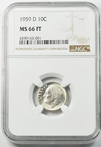 1959 D Roosevelt Dime 90% Silver AZD8 10c MS66 NGC FT