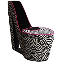 ORE International AHB4258B High Heel Storage Chair, Black Zebra