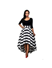 Women Long Striped Evening Formal Party Cocktail Dress Bridesmaid Prom Gown