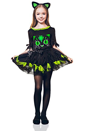 Kids Girls Kitty Cat Halloween Costume Miss Meow Catgirl Dress Up & Role Play (8-11 years, green, (Cat Woman Costume Ideas)