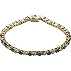 "Emerald and Diamond Bracelet, 14k Yellow Gold, 7.25"" (2.38 Cttw, GH Color, I1 Clarity)"