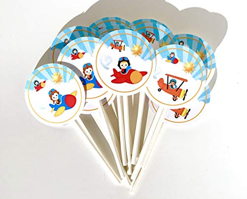 - Pilot Cupcake Toppers 12 Pcs - Aviator Cake Picks Baby Shower, Birthday Party Decorations Supplies, Airplane Themed