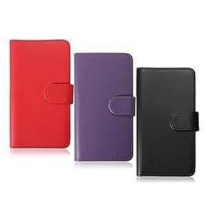 Tirón de la carpeta de cuero Tarjetas ranura cubierta del caso para Nokia Lumia 630 (Color: Morado)