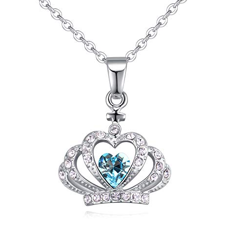 Diamond Accent Crown Necklace - Crystal Diamond Accent Princess Crown Pendant Chain Necklace for Women Teenage Girls Kids Children, with A Gift Box, Made with Swarovski Crystal, Ideal Gift for Birthdays/Christmas / Wedding