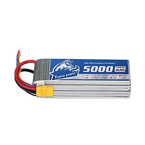 YOWOO Lipo Battery 6S 5000mAh 22.2V 50C RC Batteries with XT90 Connector for Mikado LOGO500, Align T-REX550/600, GAUI X5, Outrage 550, Hirobo SDX, Large multirotors, EDF Jets